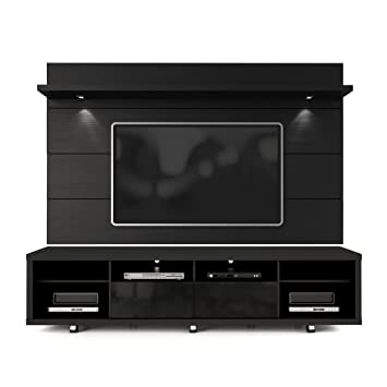 floating tv stand with fireplace comfort wall panel black gloss amazon glass