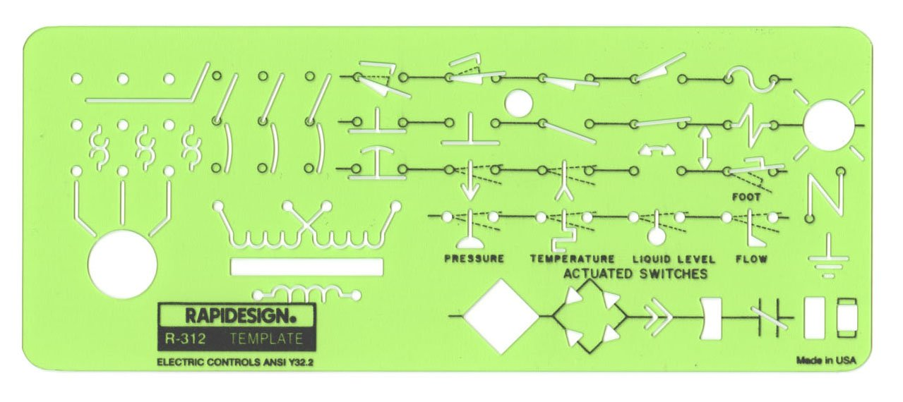 Rapidesign Electric Controls Template, 1 Each (R312) by RAPIDESIGN