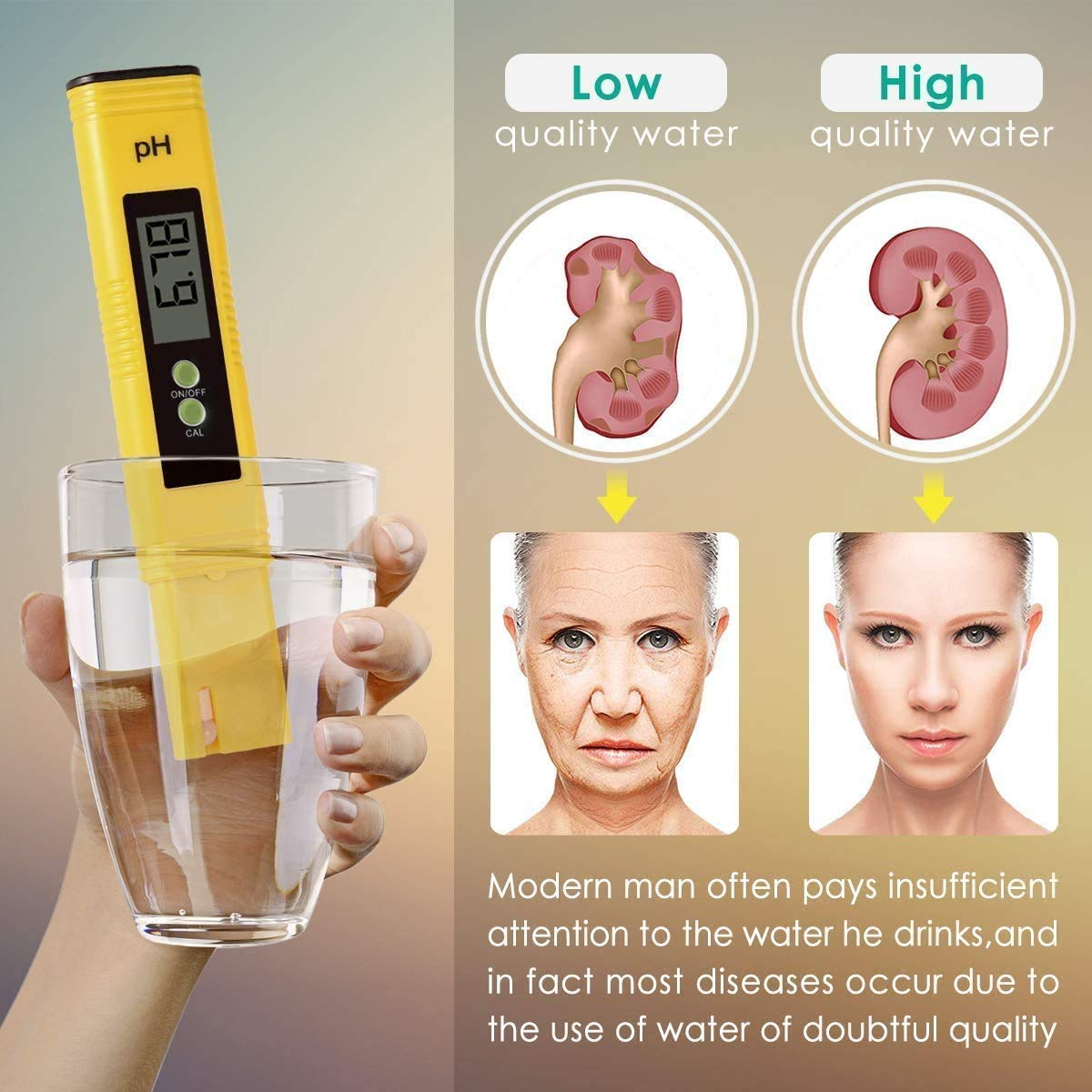 Water Quality Tester with Calibration Solution Powder PH Accuracy 0.01 Measurement for 0-14 Measurement Range for Household Drinking,Food Digital PH Meter
