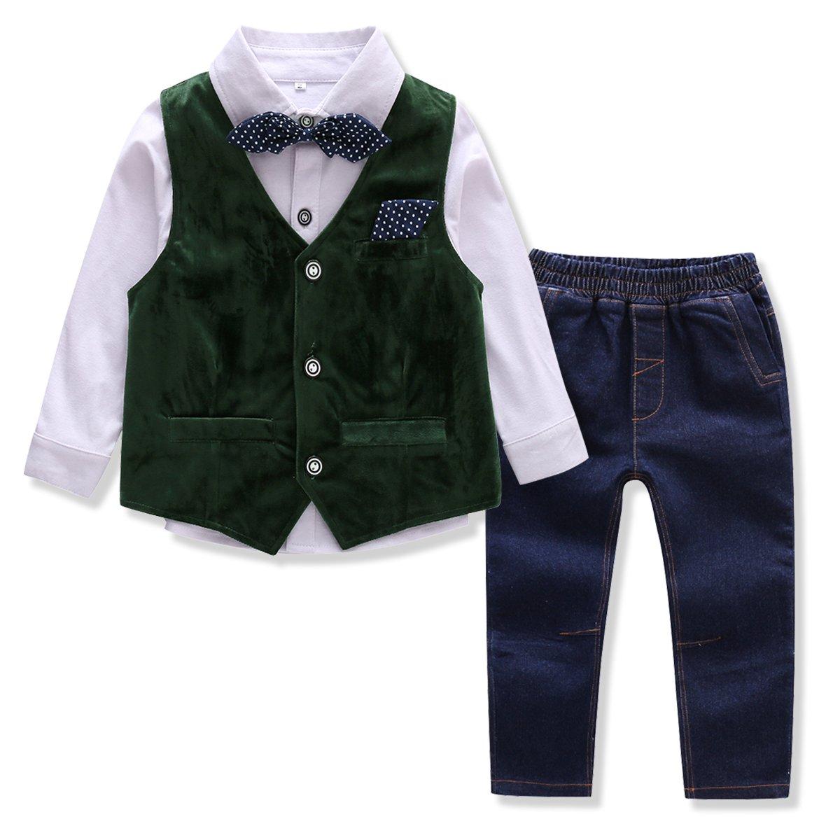 0427ef7419a Amazon.com  Baby Boys Clothes Gentleman Bowtie Corduroy Vest Shirt Denim  Jeans 4 Pcs  Clothing