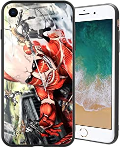 for iPhone7 and iPhone8, Attack on Titan (Shiso no Kyojin) Design 386 Tempered Glass Phone Case, Anti-Scratch Soft Silicone Bumper Ultra-Thin iPhone7 and iPhone8 Cover for Teens and Adults