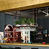 MAHZONG Racks Ceiling Wine Stand Adjustable Height Hanging Wine Glass Holder (Size : 80cm35cm)