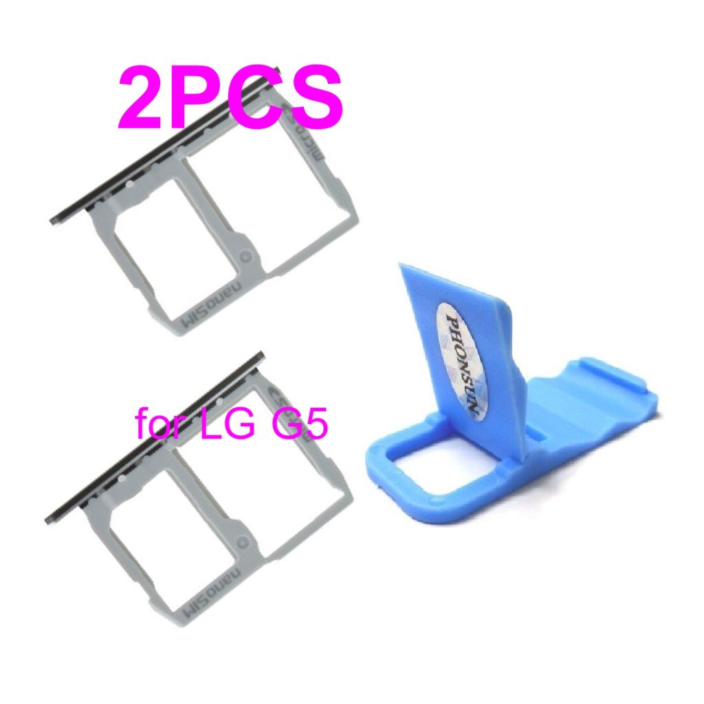 Silver SIM & Memory Card Tray SIM Card Holder Replacement for LG G5 H820 H830 H850 VS987 LS992 US992 RS988 + PHONSUN Portable Cellphone Holder by PHONSUN