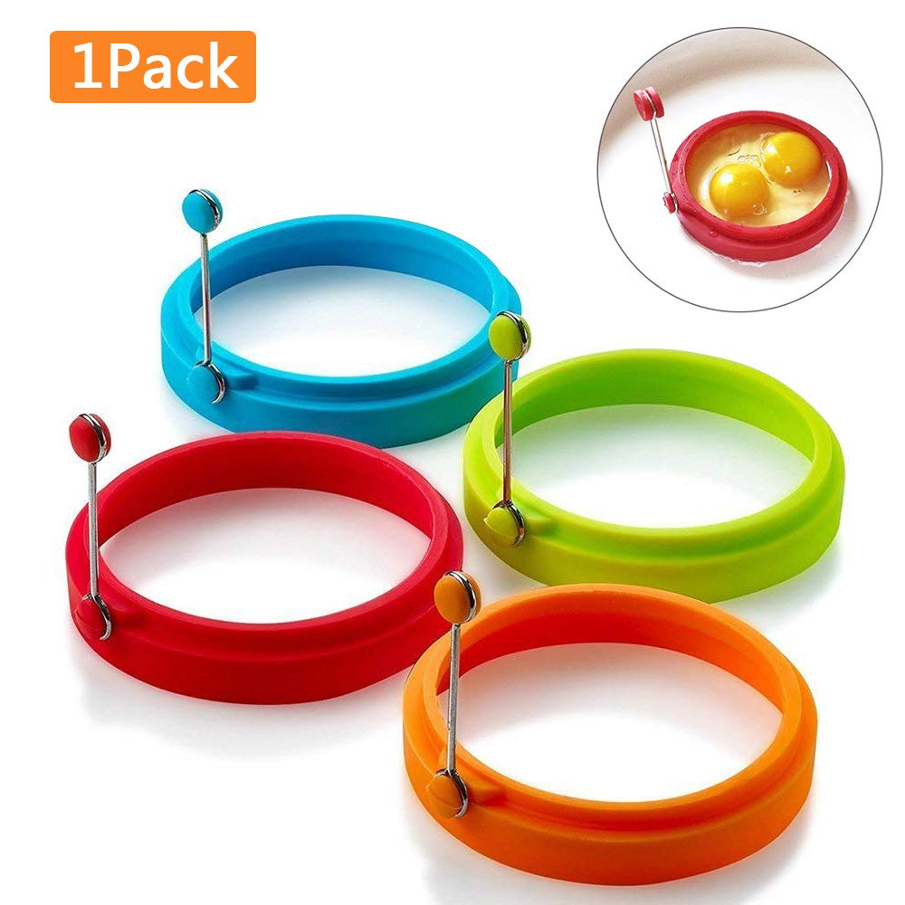 Egg Ring Non Stick Silicone Egg Rings Pancake Mold Round Cooking Mould Random Color 1pcs Pro-Noke