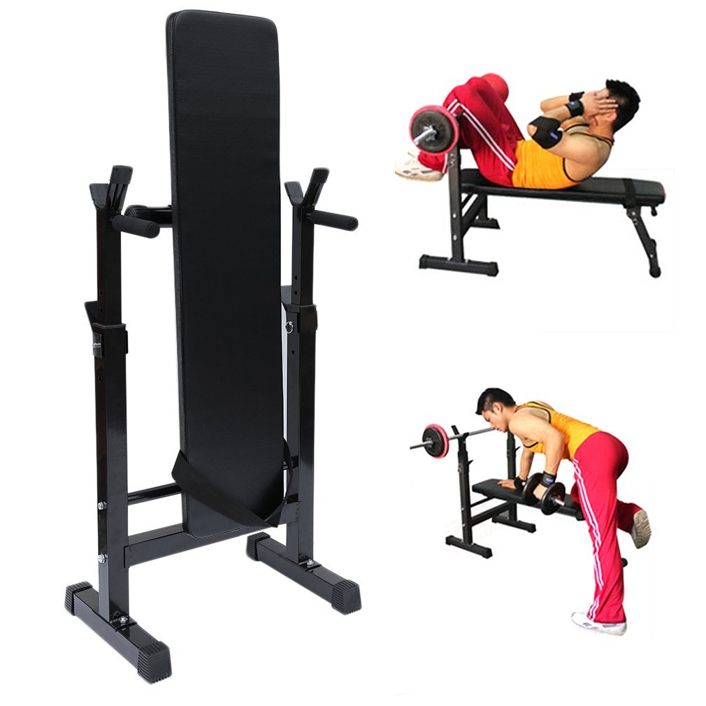 Homgrace Weight Bench Folding Multifunctional Sit Up Bench Dip Station with Adjustable Barbell Rack, Training Bench for Lifting Chest Press Exercise Home Gym (black) 009701_K