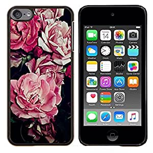 Dragon Case - FOR Apple iPod Touch 6 6th Generation - begonia pink flower floral pattern black - Caja protectora de pl??stico duro de la cubierta Dise?¡Ào Slim Fit