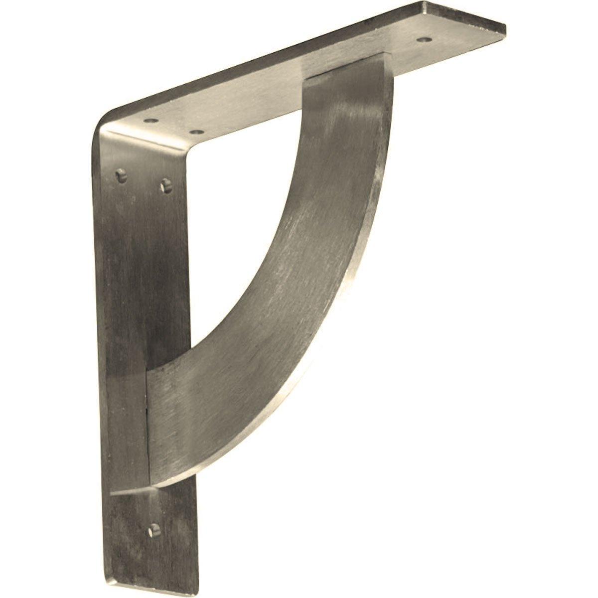 Ekena Millwork BKTM02X08X08BUSS  2-Inch W x 8-Inch D x 8-Inch H Bulwark Bracket, Stainless Steel