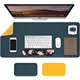 iCasso Desk Pad,Dual-Sided Multifunctional Mouse Pad,Waterproof PU Leather Desk Blotter Protector Desk Mat,Large Desk Writing