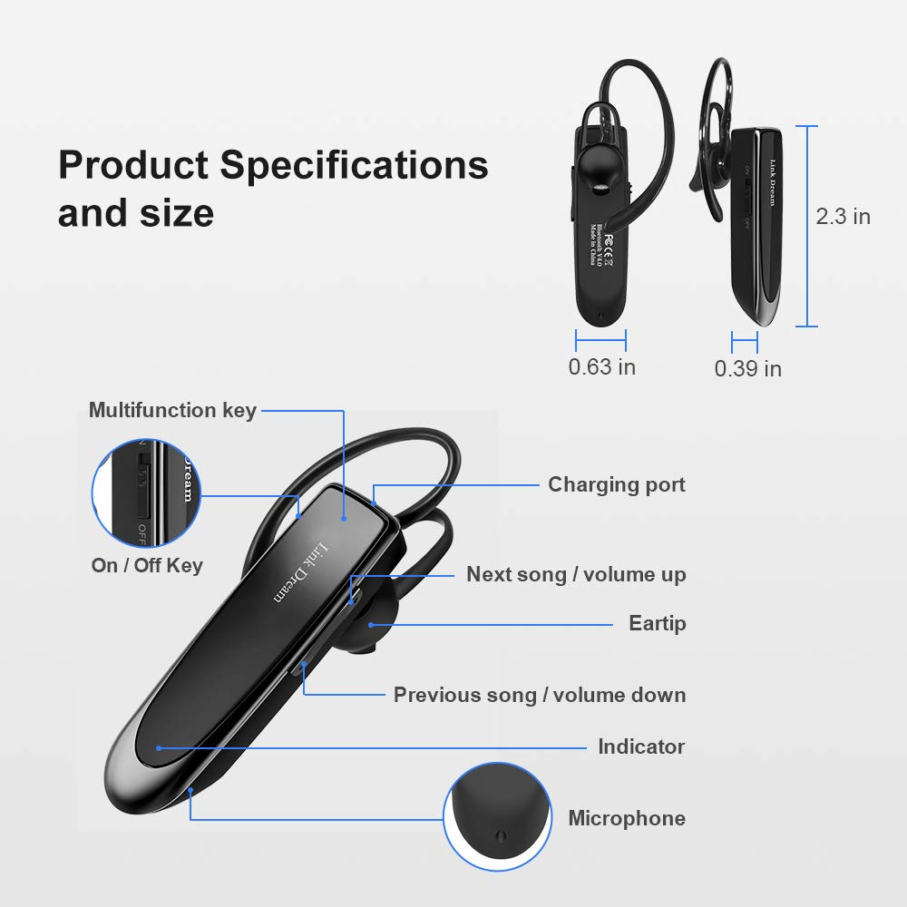 Bluetooth Earpiece Link Dream Wireless Headset with Mic 24Hrs Talktime Hands-Free in-Ear Headphone Compatible with iPhone Samsung Android Smart Phones, Driver Trucker (Black) by Link Dream (Image #5)