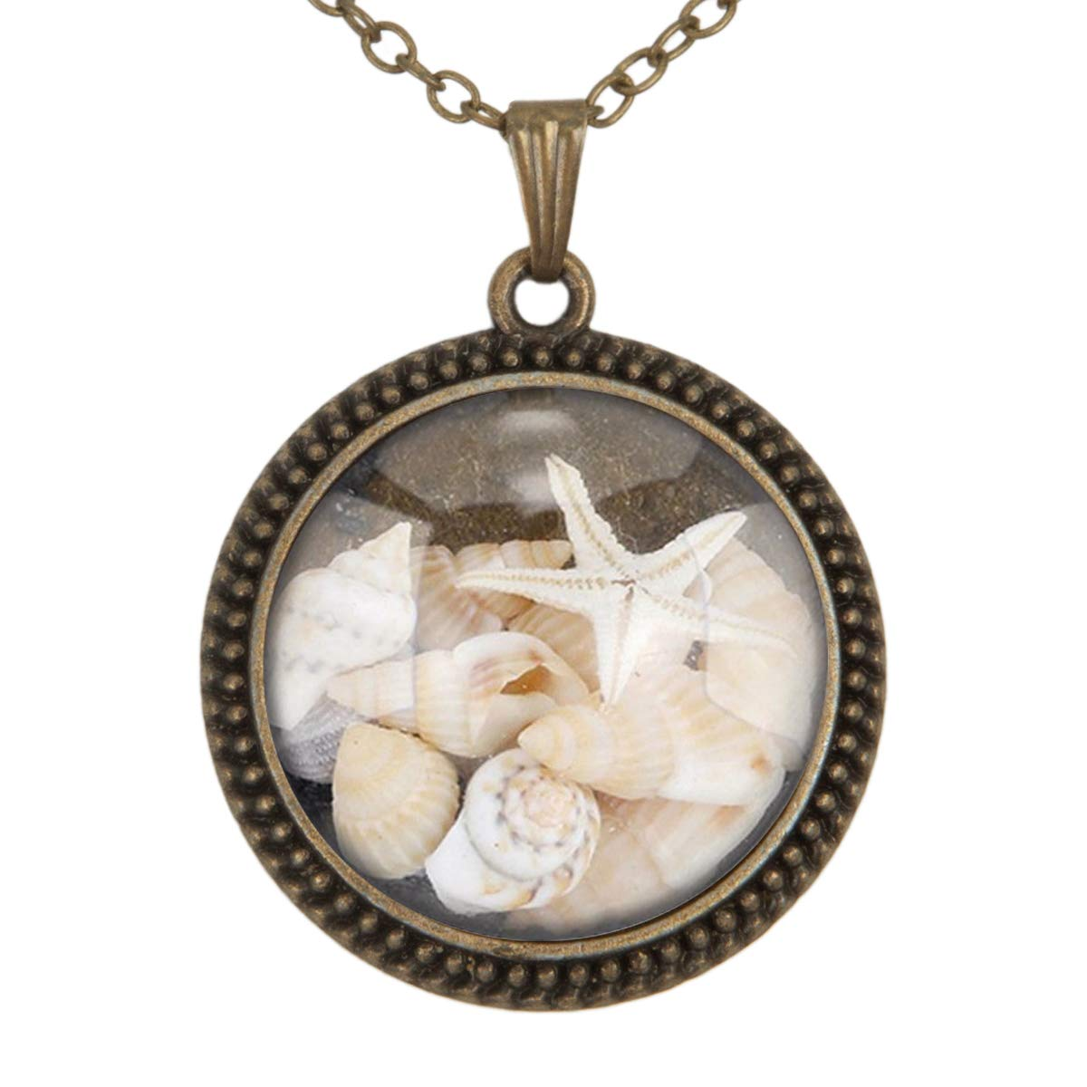 Family Decor Beautiful Conch Seabed Pendant Necklace Cabochon Glass Vintage Bronze Chain Necklace Jewelry Handmade