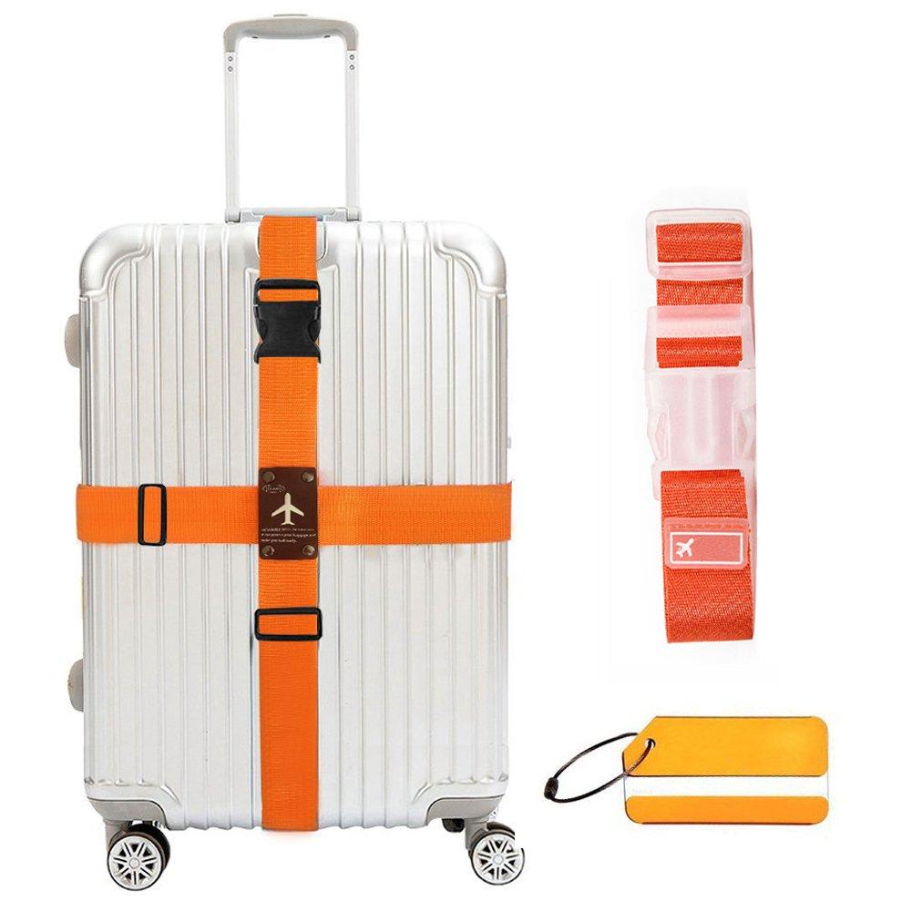 WESTONETEK Heavy Duty Detachable Adjustable Long Cross Travel Luggage Strap Packing Belts Suitcase Bag Security Straps with Additional Luggage Tag Label, Orange