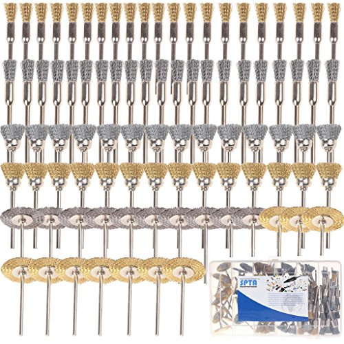 """SPTA Wire Brush Wheel & Cup Brass & Steel Wire Brush 1/8"""" (3mm) Shank For Proxxon Dremel Rotary Tools-Pack of 136Pcs"""