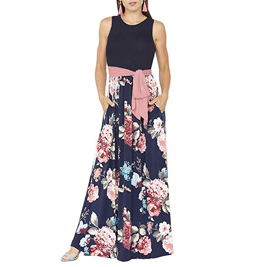 b53c821240 Amazon.com: Womens Summer Contrast Sleeveless Round Neck Tank Top Floral  Print Maxi Dress with Belt: Clothing