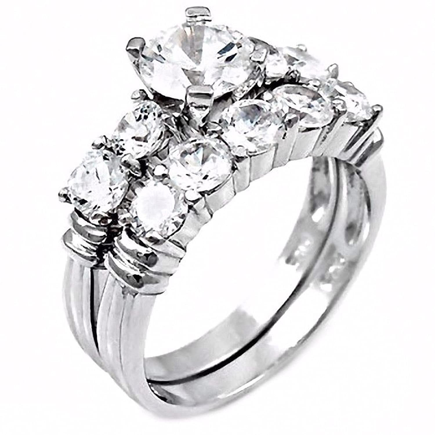 Sondra: 3.5ct Russian Ice on Fire CZ 2 Pc 5 Stone Design Wedding Ring Set 925 Silver, 3239A