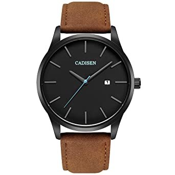 Cadisen Classic Watch For Men Brown Leather Strap Black Dial Waterproof Pointer Color Gunmetal And Blue