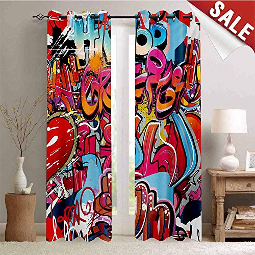 Hengshu Graphic Blackout Draperies for Bedroom Hip Hop Street Culture Harlem New York City Wall Graffiti Art Spray Artwork Image Thermal Insulating Blackout Curtain W108 x L108 Inch Multicolor (Olivia Love And Hip Hop New York)