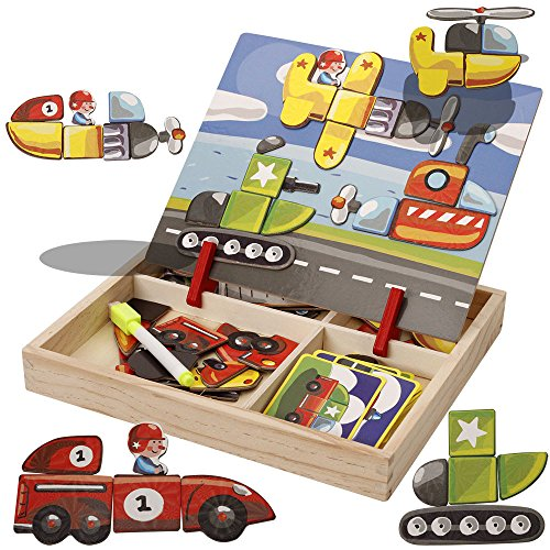 Double Maze Puzzle (FQStech Wooden Box with Magnetic Jigsaw Maze Puzzles Double Side Writing Board Games for Kids Boys Girls - Vehicles)
