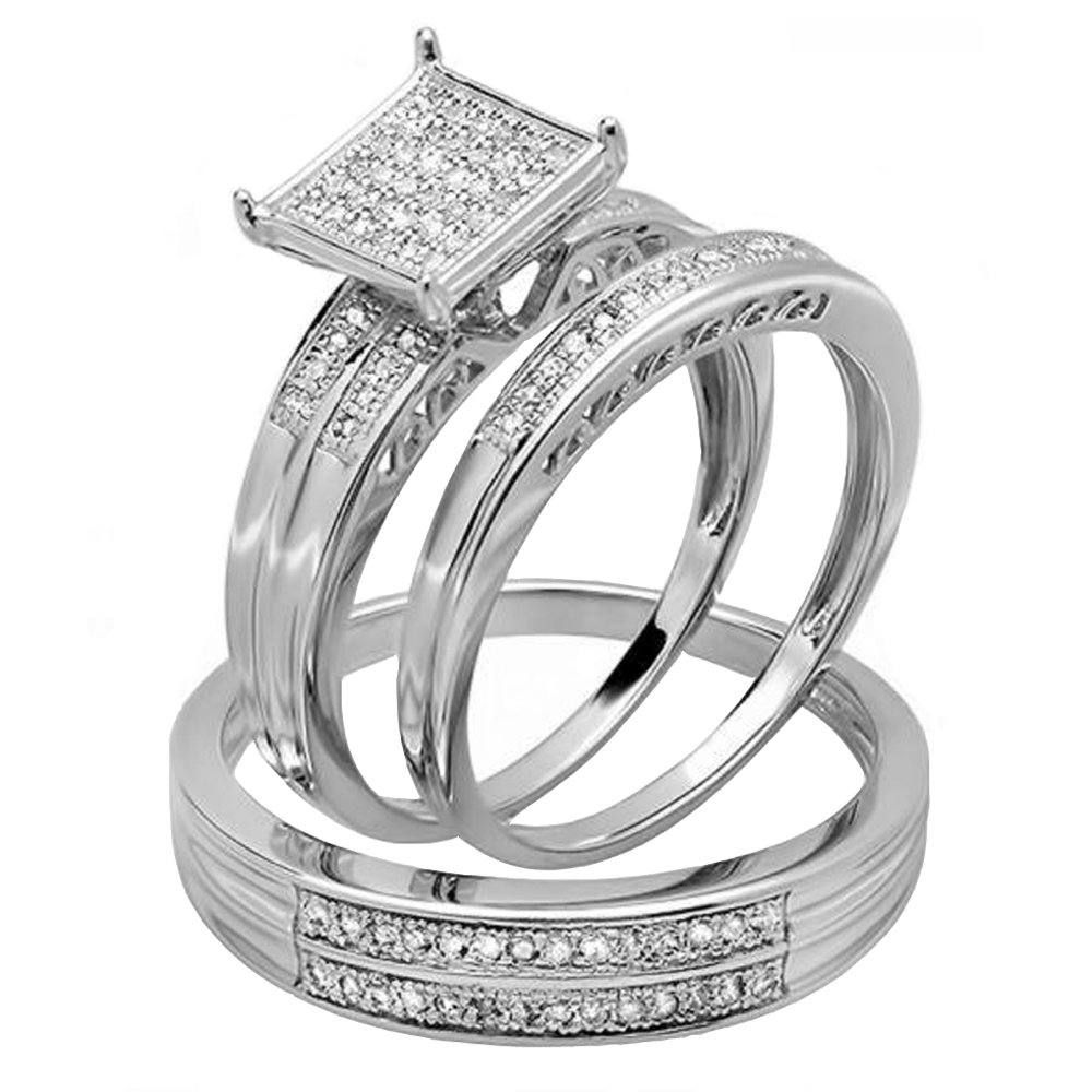 0.23 Carat (ctw) Sterling Silver Round White Diamond Men & Women's Trio Bridal Set 1/4 CT (Size 9)