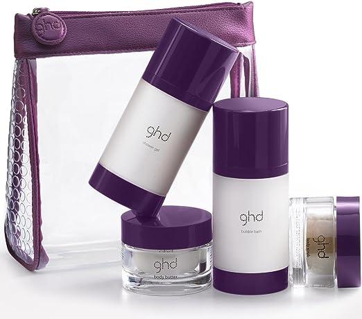 ghd – Resistencia para morado Pamper Pack, de la burbuja de baño 150 ml, Gel de ducha 150 ml, cuerpo mantequilla 45 ml y cuerpo exfoliante 45 ml: Amazon.es: Belleza