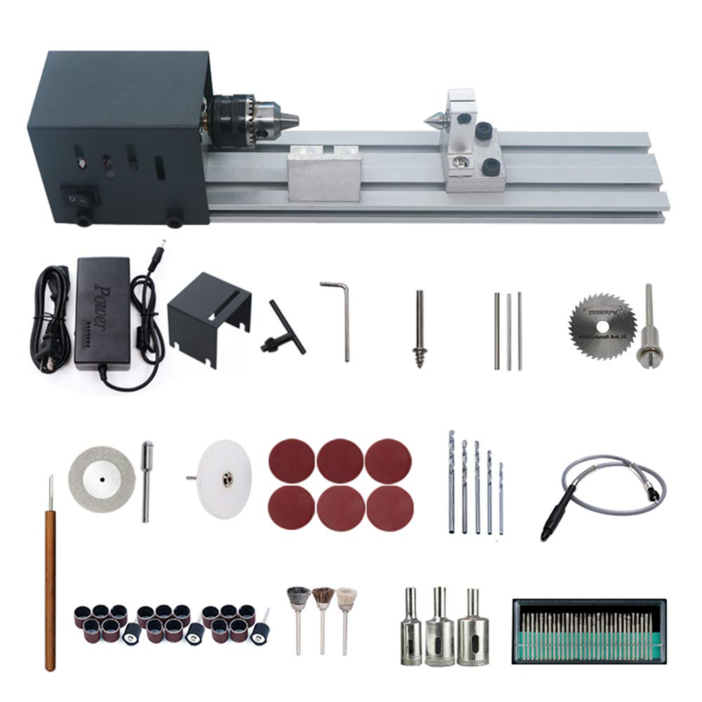 Festnight Power Wood Lathes Mini Lathe Beads Polisher Machine Woodworking Craft DIY Rotary Tool Set Standard Grinding Set