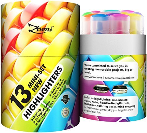 Highlighters Markers Assorted Colors Bulk Fluorescent Highlighter Marker Pens Pack Large Set Color Chisel Tip Yellow Blue Green Pink Orange Pastel (Set of 13 (Limited Edition, New Colors)) by ZenZoi