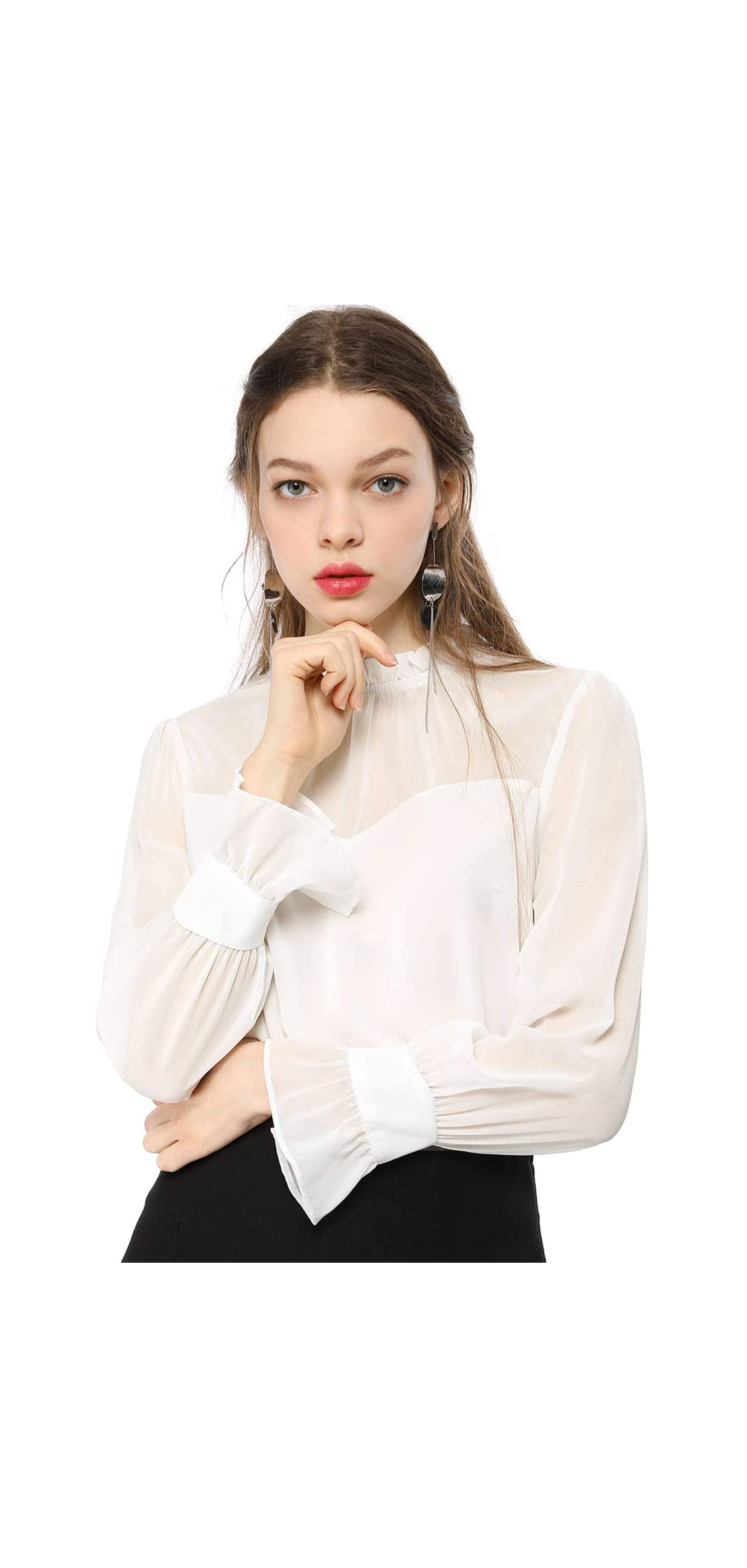 Women's Chiffon Mesh Top Casual Loose Long Sleeve Neck