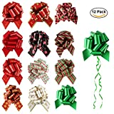 Christmas Gift Pull Bows 12 Pack Large for Gift Wrapping Christmas Party Decor - JLYSHOP