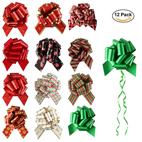 Christmas Gift Pull Bows 12 Pack Large for Gift Wrapping Christmas Party Decor - JLYSHOP by JLYSHOP