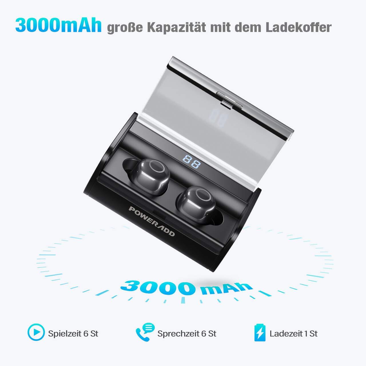 POWERADD 3000mAh Bluetooth Kopfhörer Sport Kopfhörer Bluetooth 5.0 In-Ear Ohrhörer mit CVC 6.0 IPX7 wasserdichter Grad und Integriertem Mikrofon