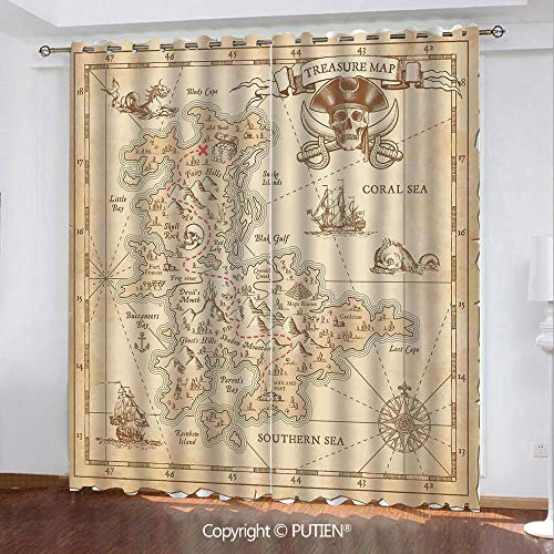Satin Grommet Window Curtains Drapes [ Ocean Island Decor,Old Ancient Antique Treasure Map with Details Retro Color Adventure Sailing Pirate Print,Cream ] Window Curtain for Living Room Bedroom Dorm R]()