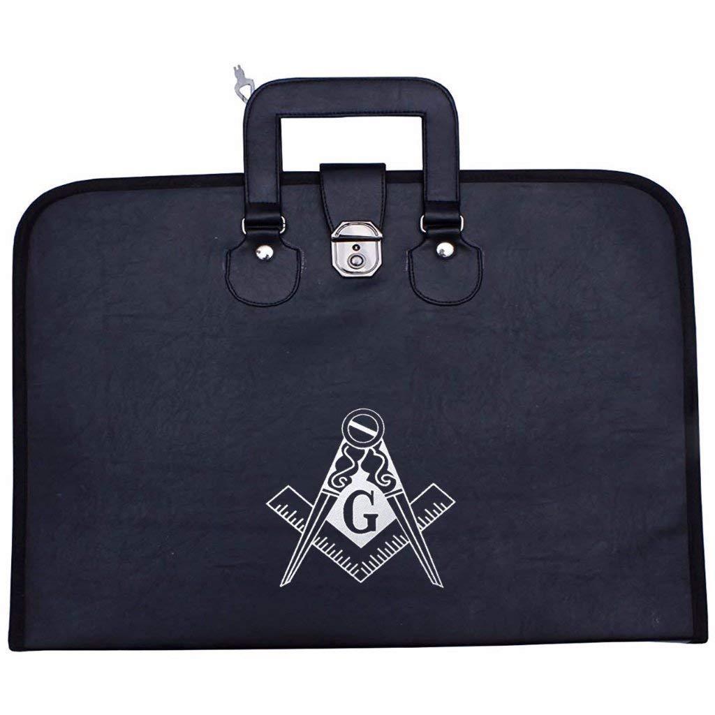 Bricks Masons Masonic Regalia MM/WM 正方形コンパス Gエプロン + チェーンカラーケース  Black With Masonic Logo B07JBCGL2H
