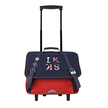 Ikks Cartable à roulettes - 38cm Union Jack Russel Rouge