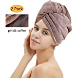 M-bestl 2 Pack Hair Drying Towels, Hair Wrap Towels, Super Absorbent Microfiber Hair Towel Turban with Button Design to…