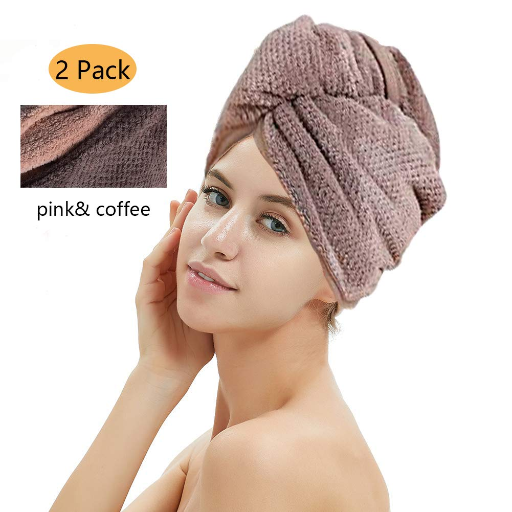 2 Pack Hair Drying Towels, Hair Wrap Towels, Super Absorbent Microfiber Hair Towel Turban with Button Design to Dry Hair Quickly(Coffee& Pink)