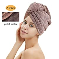 M-bestl 2 Pack Hair Drying Towels, Hair Wrap Towels, Super Absorbent Microfiber Hair Towel Turban with Button Design to Dry Hair Quickly(Coffee& Pink)