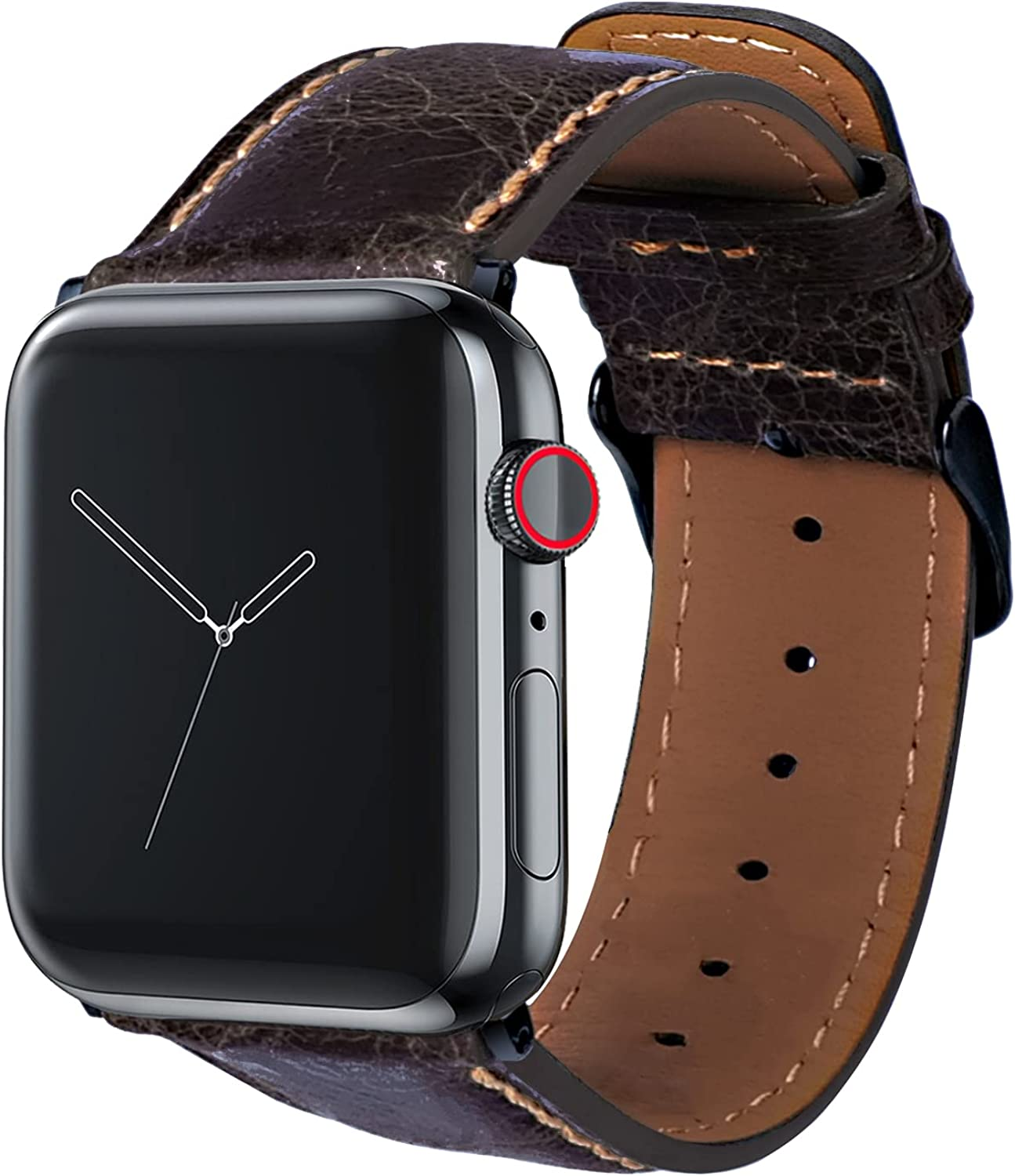 VANZON Watch Band Compatible with Apple Watch Bands 38mm 40mm 42mm 44mm, Leather Smart Watch Band for Men Women iWatch SE Series 6 5 4 3 2 1 black band