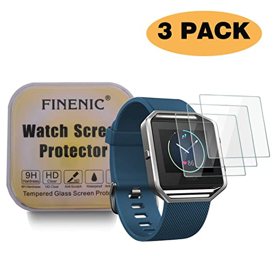 FINENIC Compatible with Fitbit Blaze smartwatch HD Clear 9H Hardness Multi-Layer Explosion-Proof Tempered Glass Screen Protector for Anti-Bubble ...