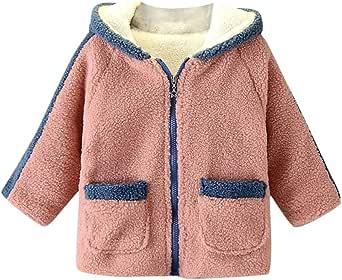 Baby meisjes hoodie winterjas donsjas met teddybont warm gevoerd effen capuchon fleece mantel kinderen winddicht windbreaker 100-140
