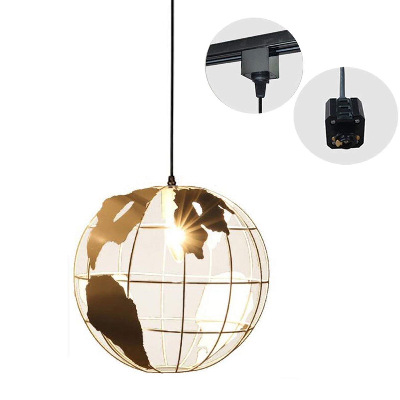 H-Type 3 Wire Metal Globe Track Light Pendants Length 1.5m Restaurant Chandelier Deco Chandelier Instant Pendant Fixture,Bulb Not Include, Industrial 1 Light Pendant Lamp (TB0268-B)