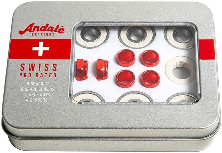 Andale Swiss Tin Box Bearing Skateboard Accessories,Red,Single Pack