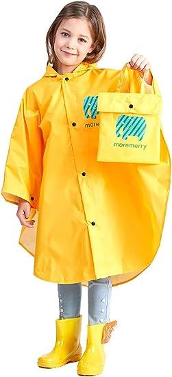Superora Rain Poncho Cape Raincoat Children Rain Jacket Waterproof Children PVC Hooded Poncho Button Down Yellow