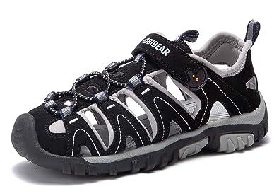 SAGUARO Kid Boys Closed Toe Sport Athletic Sandals Soft Leather Beach Flat Shoes
