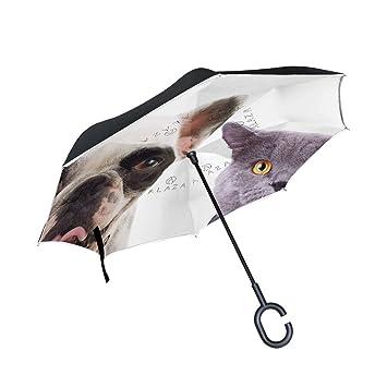 jstel doble capa diseño gato y perro paraguas coches Reverse resistente al viento lluvia paraguas para
