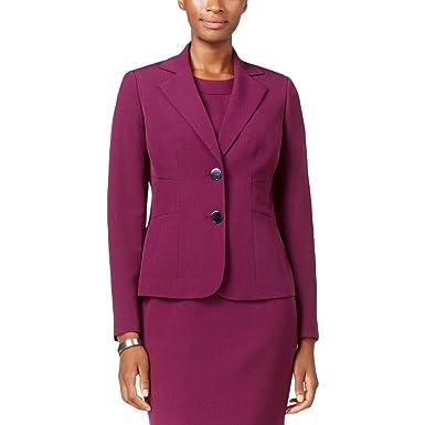 25a2515b1661 Kasper Womens Crepe Solid Two-Button Blazer Purple 6 at Amazon ...