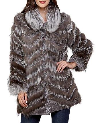 b5aa465dada frr Reversible Silk Coat with Fox Fur in Silver at Amazon Women's ...