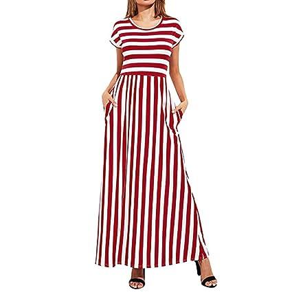 Vestidos Mujer Verano 2018,Casual de la mujer de manga corta elástico cintura con rayas