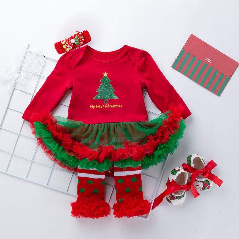 Ansenesna Baby Weihnachten Kleid M/ädchen Pl/üsch Langarm Warm Party Kleider Christmas Kleidung