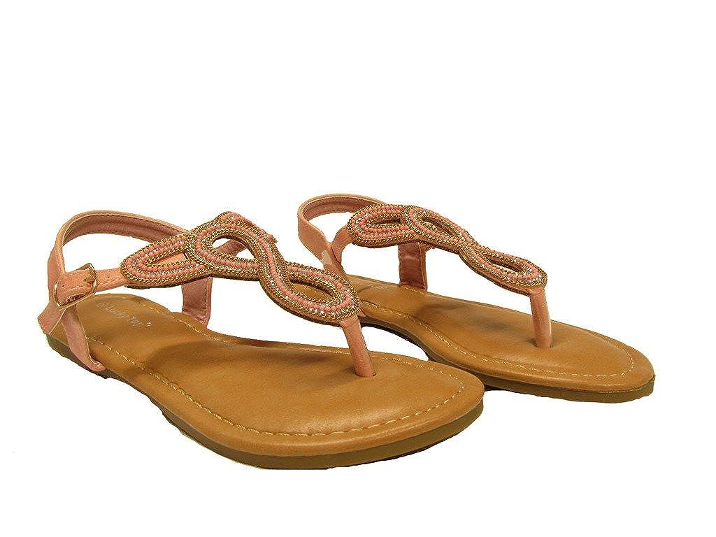 Lucky Knot1k Little Girls Rhinestone S-Strap Design Lightly Padded Sandals Blush
