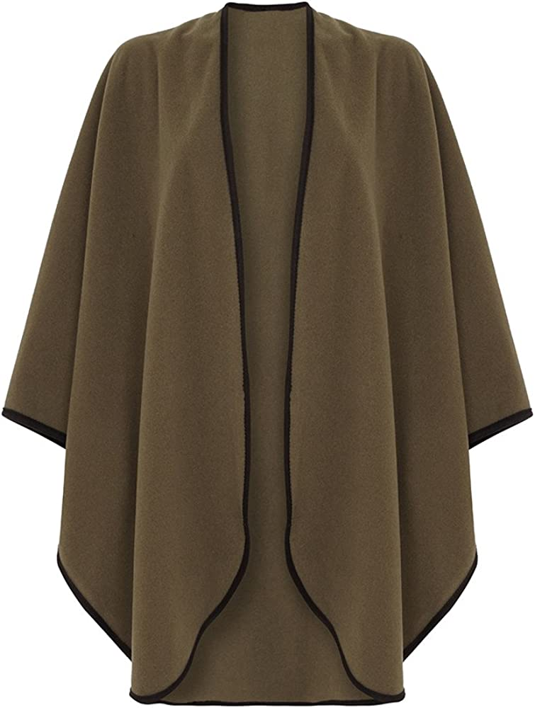 Wool Cashmere Cape With Trim