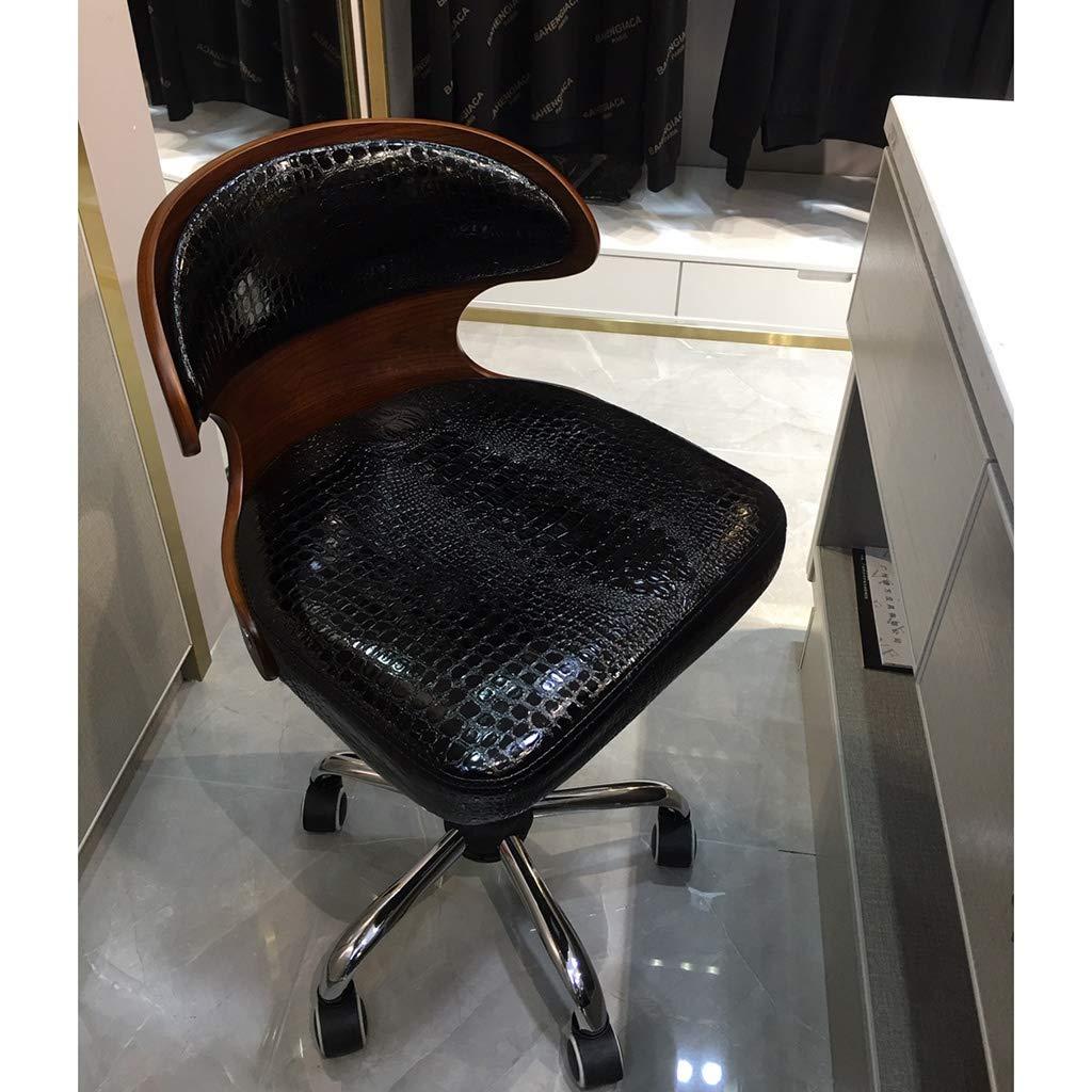 Kontorsstol, vintage retro stil kök kontorsstol loungestol med ryggstöd och hjul – två färger (färg: svart) Svart